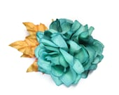 Teal & Gold Glittered Fall Pinup Rose Flower Hair Fascinator Clip