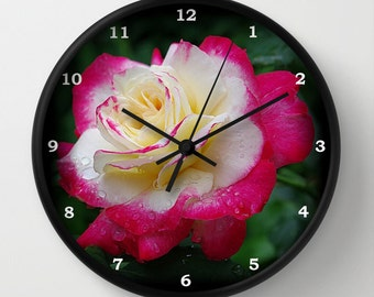 Rose wall clock, 'Double Delight' rose photograph, gift for gardener, pink, red, cream flower, botanical nature photograph clock, landscape