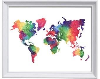 Framed World map watercolour print