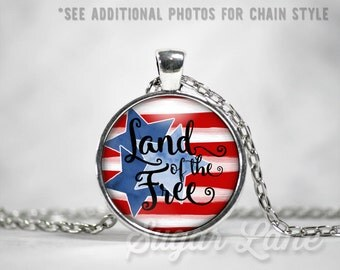 Star Spangled Spirit Necklace - July 4th Pendant - Glass Dome Necklace - 4th of July Jewelry - Americana Necklace