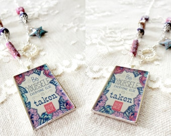 Be Yourself, Everyone Else Is Taken pendant necklace with purple, blue, and pink beads, oscar wilde, inspirational jewelry, quote necklace