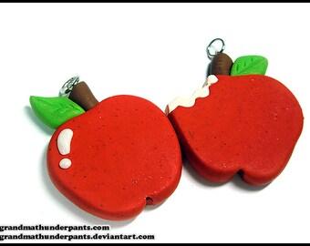 Red Apple Necklace, Handmade Glittery Apple