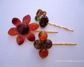 Vintage earrings hair grips - Fall Autumn lucite flower amber orange brown auburn moonglow gem jeweled embellish decorative hair accessories