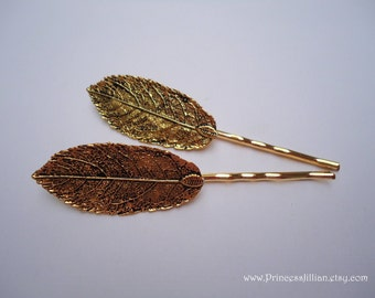 Nature inspired hair grips - Boho chic antique gold leaf bronze feather woodland garden fancy fun girl decorative embellish hair accessories