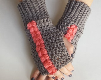 Texting Gloves - Grey and Guava Fingerless Mittens - Grey and Mustard Fingerless Gloves