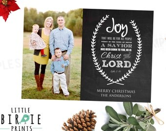 Chalkboard Christmas Photo Card - Bible Verse - Luke 2 - Christian Christmas Card - Bible Christmas Card Printable