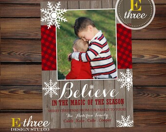 Plaid Christmas Card - Rustic Christmas Photo Card - Snowflakes, Wood, Plaid - Holiday Picture Card