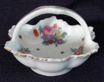 Vintage Porcelain Trinket Basket, Floral Design, Gold Trim, Made in Japan