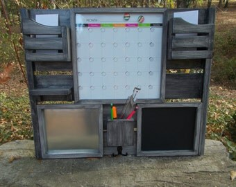 Message Center--Magnetic Board--Chalkboard--Kitchen Decor--Mail Organizer--Magazine Holder--Mail Holder