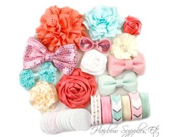 Coral and Mint Headband Kit, 12 Headbands Baby Shower Station, Headband Station, DIY Headbands, Baby Shower Kit, Headband Kit Baby Shower