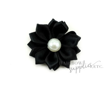 Black Dainty Star Flowers with Pearl 1-1/2 inch - Black Fabric Flowers, Black Silk Flowers, Black Hair Flowers, Black Flowers for Hair