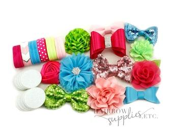 Baby Headband Kit The Selma - Fuchsia, Turquoise, Lime, Light Pink - Makes 12 Headbands - Baby Headbands, DIY Headbands, Headband Making Kit