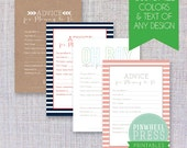 Design Your Own Mom Advice Cards - Print Yourself - Baby Book Keepsake - Baby Shower Game