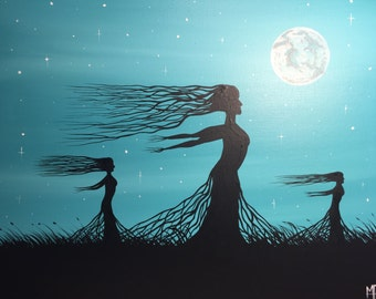 The Moon Dance- 16 x 20 acrylic on canvas , ready to hang, by Michael H. Prosper
