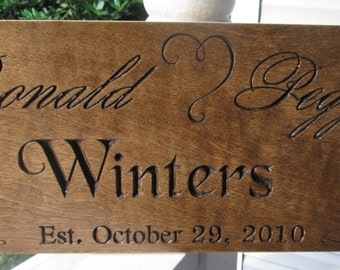 Custom Family Established Sign Personalized Carved Rustic Wood Plaque Decorative Heart Wedding Anniversary Family Gift Established Est104