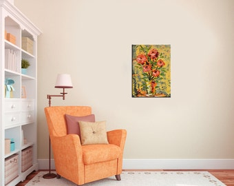 ORIGINAL Oil Painting abstract painting colorful painting Vase Still life orange coral wall art home decor impasto textured ART by Marchella