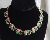 RESERVED for Clare. Rare Vintage Exquisite Pink Rose Birthday Necklace - June