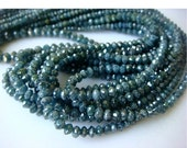 55% ON SALE Blue Diamonds - Faceted Diamond Beads - Conflict Free Diamonds - Approx 2mm To 3mm Each - 13 CTW - 8 Inch Half Strand