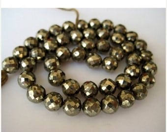 ON SALE 51% Pyrite Beads, Faceted Beads, Rondelle Beads, 6mm Beads, 38 Pieces, 9 Inch Strand