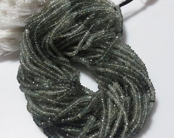 50% VALENTINE SALE Moss Aquamarine Beads/ Faceted Rondelle Beads/ Faceted Aquamarine Rondelles, 3.5mm Beads, 14 Inch Strand