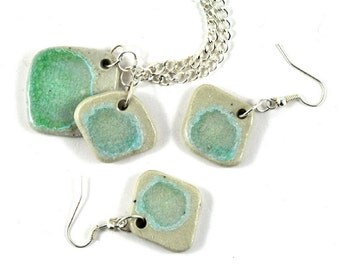 Jewelry Set Earrings & Necklace Green Handmade Ceramic Pottery and Crystalised Fused Glass Diamond Square Shape Gift hor Her