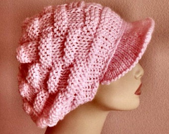 Petal Pink Hand Knit Basket Stitch Newsboy Brimmed Slouchy Hat