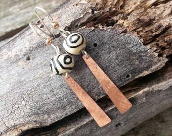 Florentine Sticks - Copper Earrings
