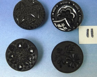 Victorian Buttons Antique 4 Ornate Flower Black 1/2  Glass Button 11