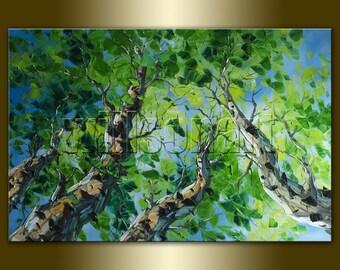 Seasons Original Birch Tree Forest Textured Palette Knife Landscape Painting Oil on Canvas Modern Art 24X36