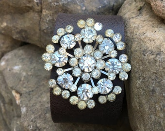Vintage Rhinestone Sunburst Flower Brooch on Brown Leather Cuff Bracelet