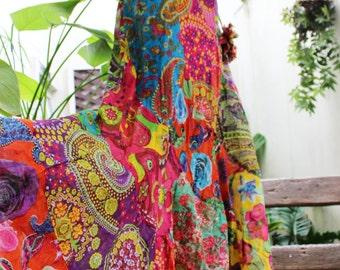 Soft Cotton Patchwork Skirt - OM1610-02