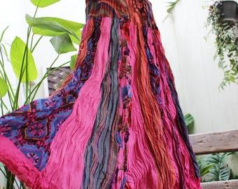 Floral Print Thai Soft Dyed Cotton Patchwork Boho Skirt - elastic waist BK1610-05