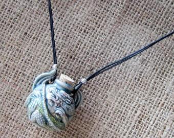 Raku Glazed 3D Ceramic Dragon Bottle Beaded Cord Necklace - ampulla ampullae