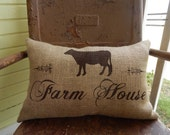 Painted Burlap FARM HOUSE in Script with Pretty Cow Throw Accent Pillow Custom Colors Available Home Decor Country Farm House Chic