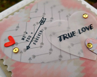 True Love Handmade Greeting Card in Coral and Tan