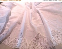 ON SALE Exquisite White on White Embroidered and Venice Lace Insets Double Border Imported Pure Cotton Batiste Fabric--One Yard