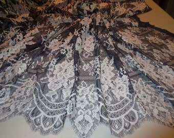 Lovely Navy Blue and Ivory Floral Patchwork Design Leavers Chantilly Lace Fabric--By the Yard