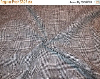 ON SALE SPECIAL--Black and White Plaid Linen and Cotton Fabric with Metallic Silver--One Yard