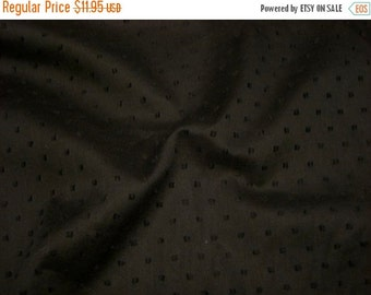 ON SALE Black on Black Pure Cotton Dotted Swiss Fabric--One Yard