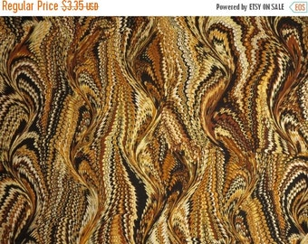 ON SALE REMNANT--Brown and Black with Metallic Gold Bookbinder Print Pure Cotton Fabric--21 Inches
