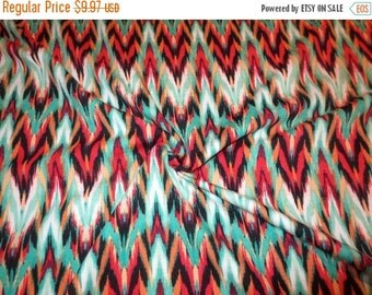 ON SALE Red and Turquoise Ikat Print Cotton/Lycra Jersey Fabric--One Yard