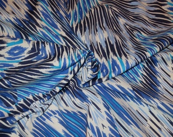 Exotic Shades of Blue Kaleidoscope Double Border Print Pure Cotton Lawn Fabric--By the Yard