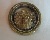 Antique Victorian Picture Button Cottage Houses Town Metal Beautiful For your Crafting  Project or Collection Metal Flower Pretty
