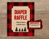 Lumberjack Diaper Raffle Tickets & Sign, Red Flannel Baby Shower, Invitation Insert, INSTANT DOWNLOAD