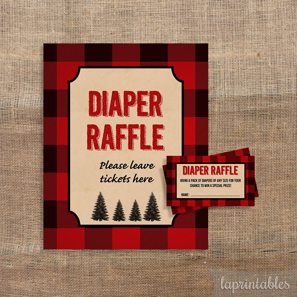 lumberjack diaper raffle tickets  u0026 sign red by laprintables
