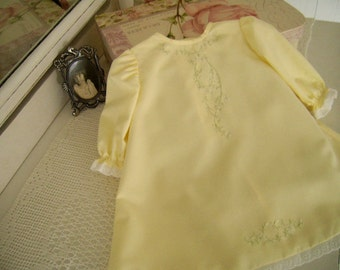 Old Fashioned Pastel Yellow Baby Day Dress size newborn to 3 mo., Lavish Hand Embroidery, Portrait, Coming Home Dress
