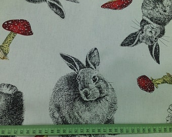"Mushroom and rabbits - 4 colors -1 yard - cotton linen,animal fabric, Check out with code ""5YEAR"" to save 20% off"