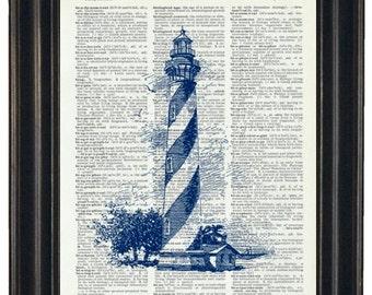 BOGO 1/2 OFF Lighthouse Art  Nautical Print Ocean Art Print Dictionary Art Print Wall Art Nautical Wall Art
