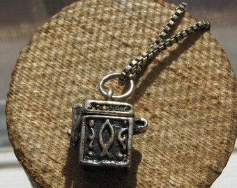 Vintage Sterling Silver 3D Women's Prayer Box Pendant with Christian Symbols and Sterling Silver Necklace Included