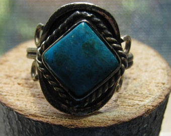 Primitive Hand Made Coin Silver Ladies Ring with Genuine Turquoise Stone Adjustable Size Women's Ring
